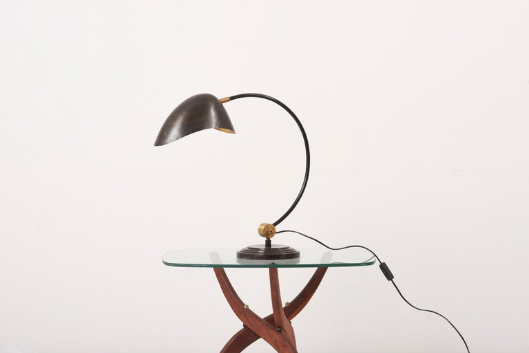 European 1940s Table Lamp in Metal and Brass For Sale