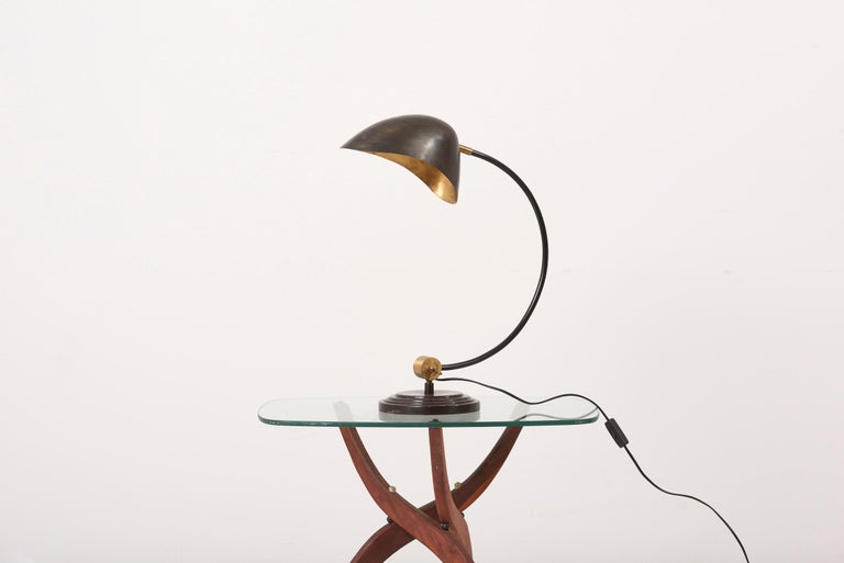 Mid-20th Century 1940s Table Lamp in Metal and Brass For Sale