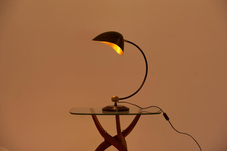 1940s Table Lamp in Metal and Brass For Sale 2