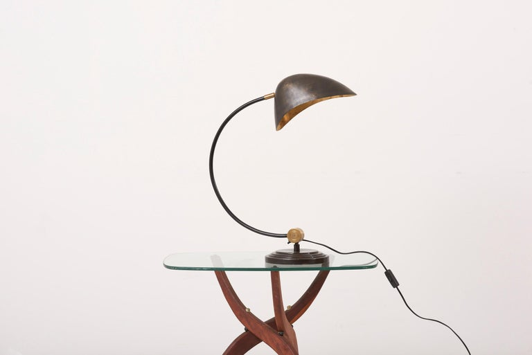 1940s Table Lamp in Metal and Brass For Sale 3