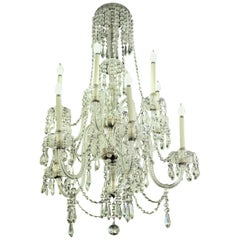 1940s Tall Eight Arm Crystal Chandelier with Brass Details