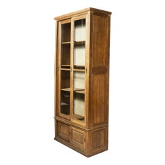 1940's Tall French Oak Glass Fronted Cabinet '1098'