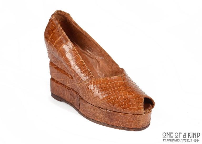 1940s tan crocodile open toe platform wedge shoes  ca. 1940-1949