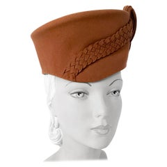 1940s Tan Structured Hat with Braided Details