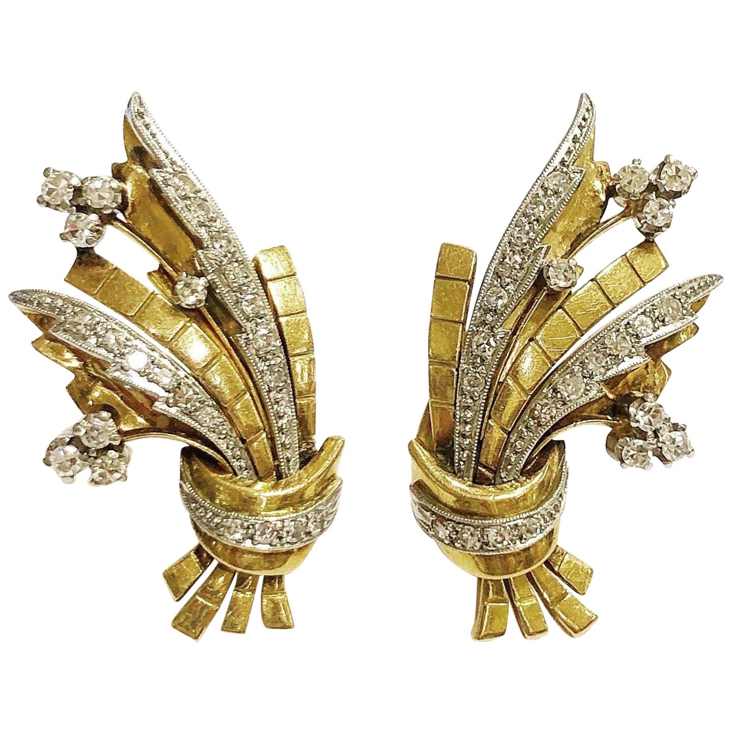 1940s Tank Platinum, 18k Yellow Gold and Diamonds Clip-On Earrings