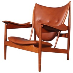 1950s Teak and Tan Leather Chieftain's Chair by Finn Juhl