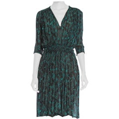 1940S Teal & Black Rayon Crepe Chiffon Hand Smocked Floral Boho Dress