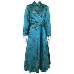 1940s Teal Satin Cheongsam Long Sleeve Robe Coat with Embroidery
