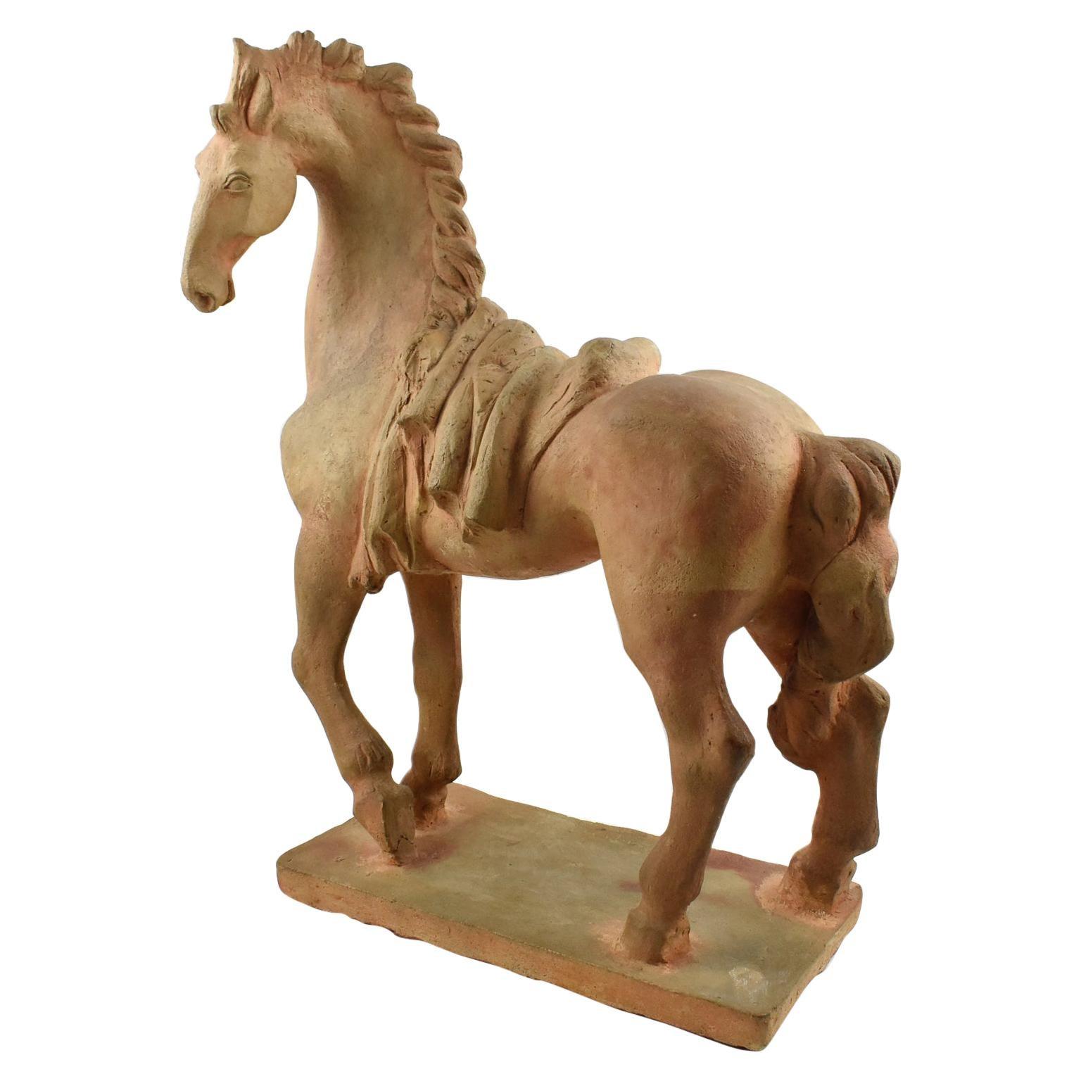 1940s Terracotta Horse Sculpture by French J. de Monpesat