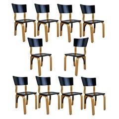 1940s Thonet Bentwood Lacquered Dining Chairs, Set of Ten