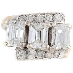 1940s Three Emerald Cut with Round Diamond Engagement Ring