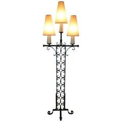 1940s Three Lights Wrought Iron Floor Lamp