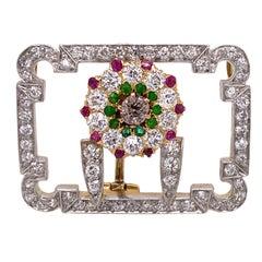1940's Tiffany & Co. Diamond Dermantoid Garnet Ruby Vintage Pendant Pin Brooch
