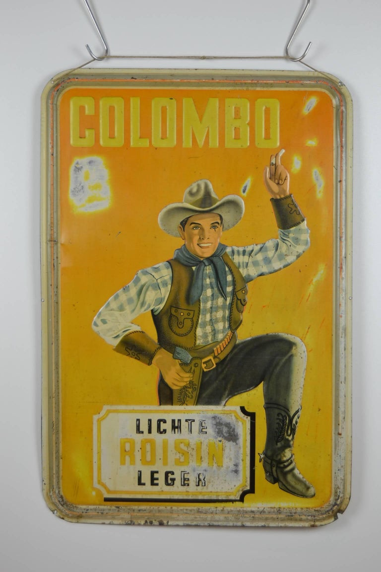 1940s Tin Advertising Sign for Colombo Cigarettes with a Smoking Cowboy For Sale 5
