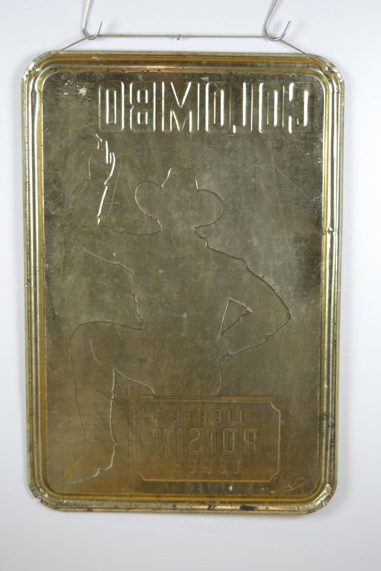 1940s Tin Advertising Sign for Colombo Cigarettes with a Smoking Cowboy For Sale 6