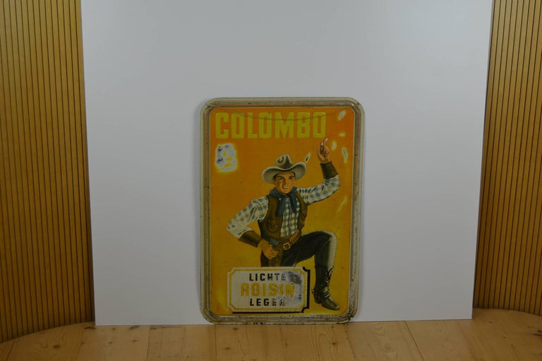 1940s Tin Advertising Sign for Colombo Cigarettes with a Smoking Cowboy For Sale 7