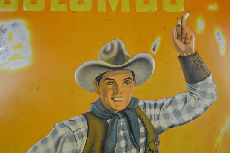Pressed 1940s Tin Advertising Sign for Colombo Cigarettes with a Smoking Cowboy For Sale