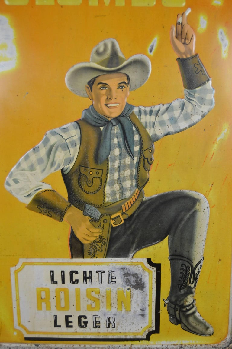 1940s Tin Advertising Sign for Colombo Cigarettes with a Smoking Cowboy For Sale 2