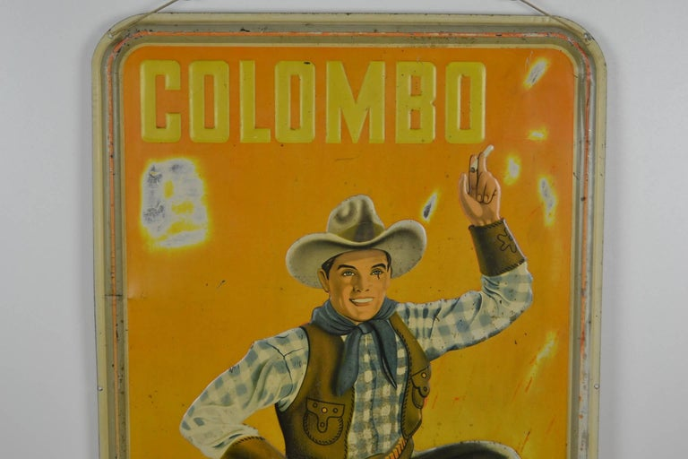1940s Tin Advertising Sign for Colombo Cigarettes with a Smoking Cowboy For Sale 3