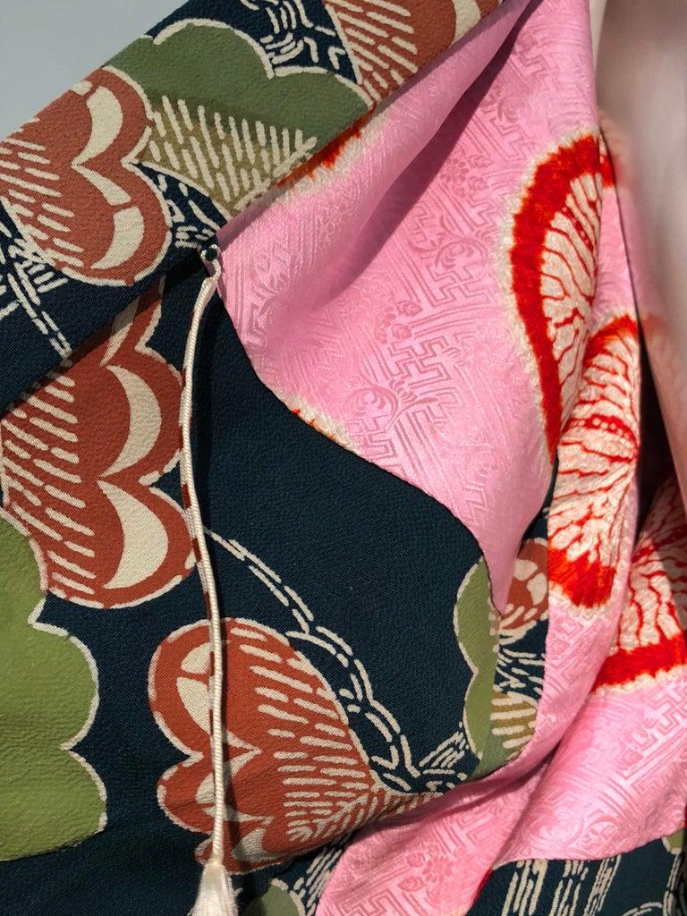1940er Jahren traditioneller Seidenkimono in stilisierten Ginko Druck Grün Orange & Schwarz 10