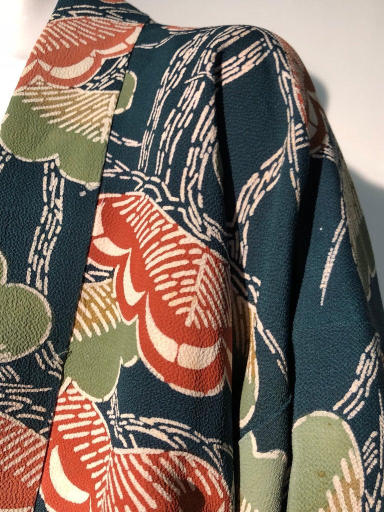 1940er Jahren traditioneller Seidenkimono in stilisierten Ginko Druck Grün Orange & Schwarz 11