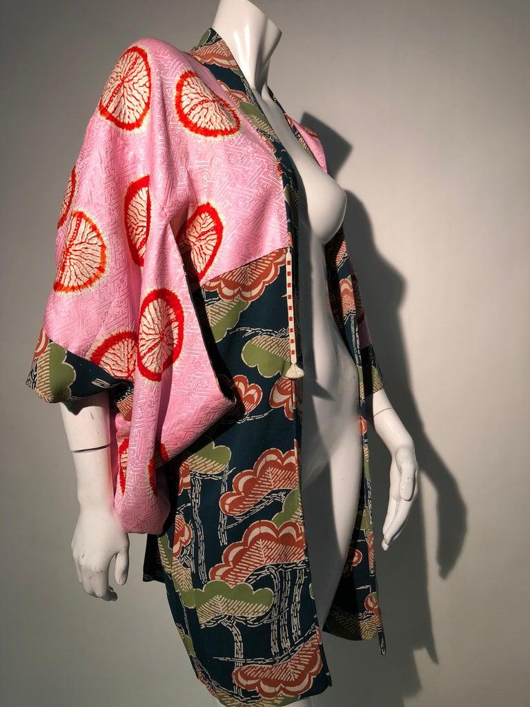 1940er Jahren traditioneller Seidenkimono in stilisierten Ginko Druck Grün Orange & Schwarz 12