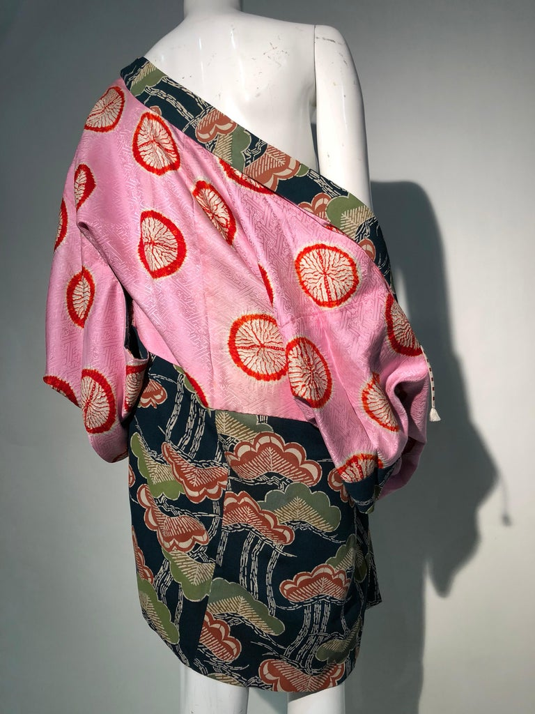 1940er Jahren traditioneller Seidenkimono in stilisierten Ginko Druck Grün Orange & Schwarz 13