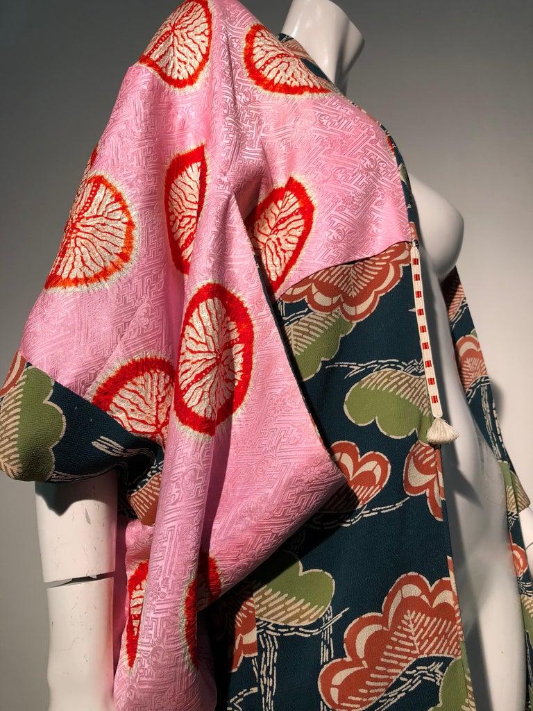 1940er Jahren traditioneller Seidenkimono in stilisierten Ginko Druck Grün Orange & Schwarz 14