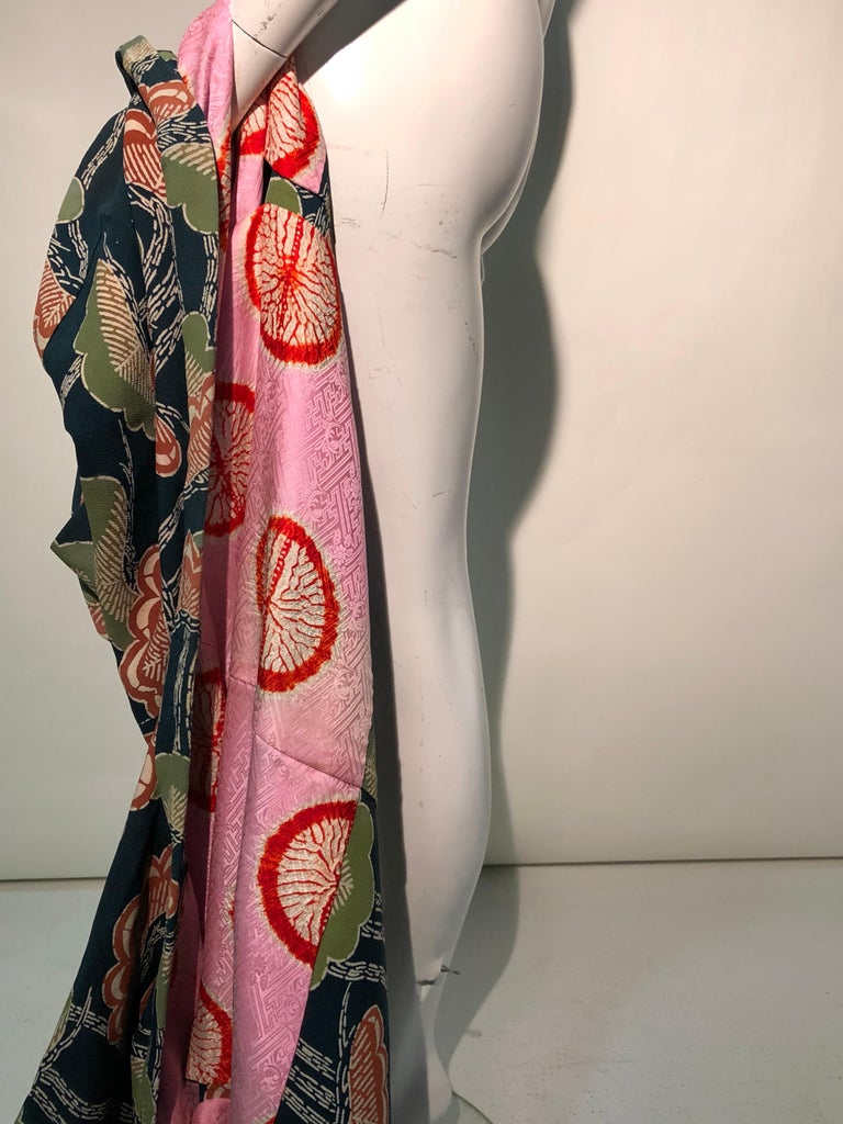 1940er Jahren traditioneller Seidenkimono in stilisierten Ginko Druck Grün Orange & Schwarz 15