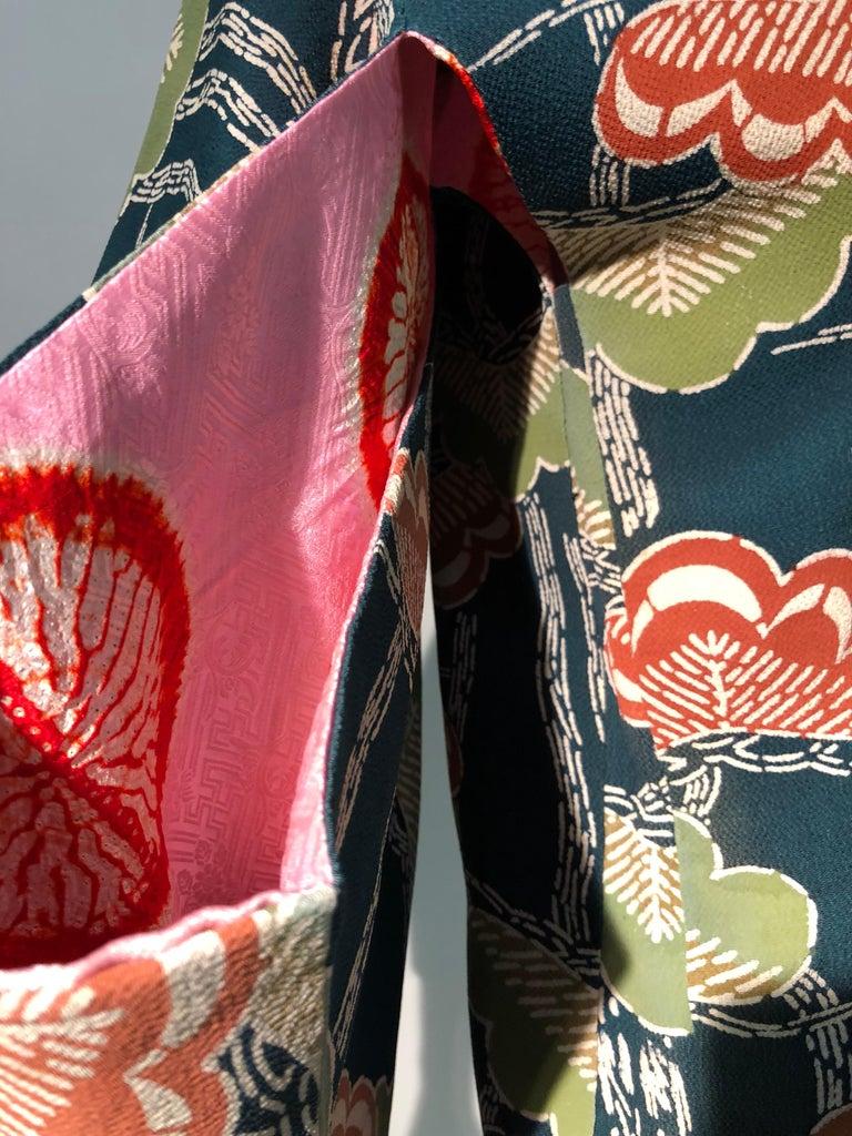1940er Jahren traditioneller Seidenkimono in stilisierten Ginko Druck Grün Orange & Schwarz 16