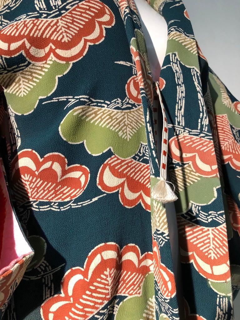 1940er Jahren traditioneller Seidenkimono in stilisierten Ginko Druck Grün Orange & Schwarz 17