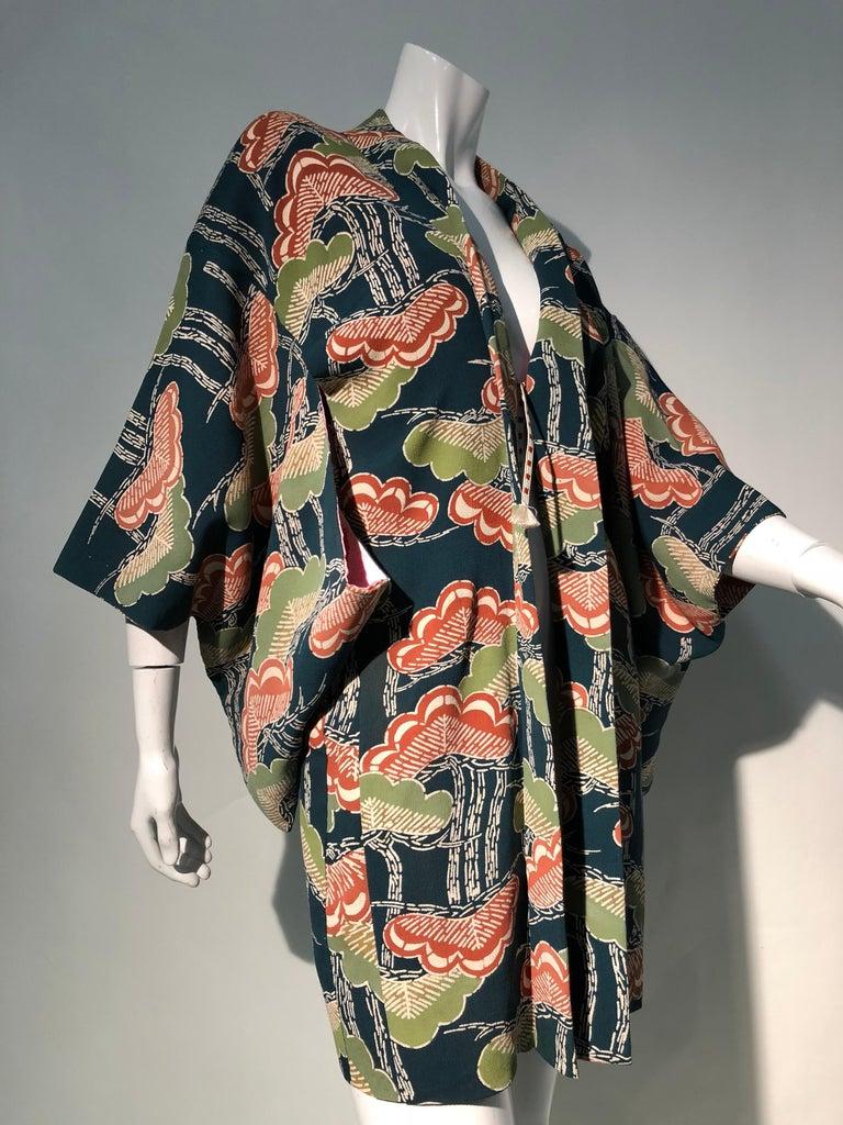 1940er Jahren traditioneller Seidenkimono in stilisierten Ginko Druck Grün Orange & Schwarz 2