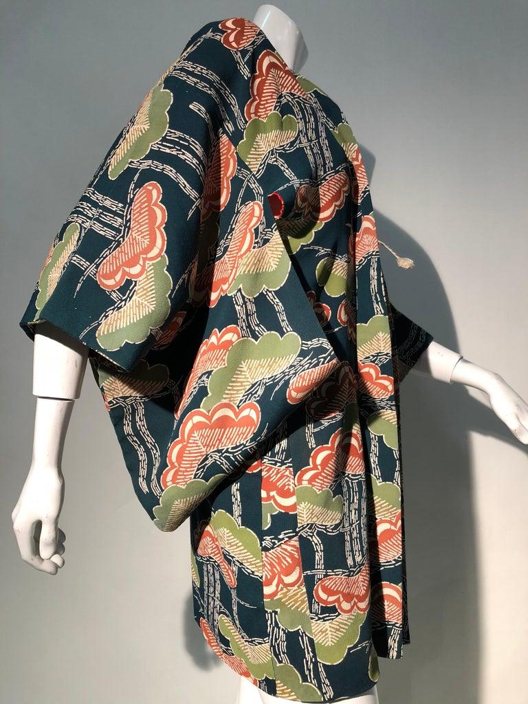 1940er Jahren traditioneller Seidenkimono in stilisierten Ginko Druck Grün Orange & Schwarz 3