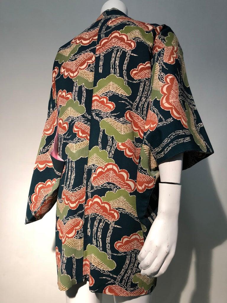 1940er Jahren traditioneller Seidenkimono in stilisierten Ginko Druck Grün Orange & Schwarz 4