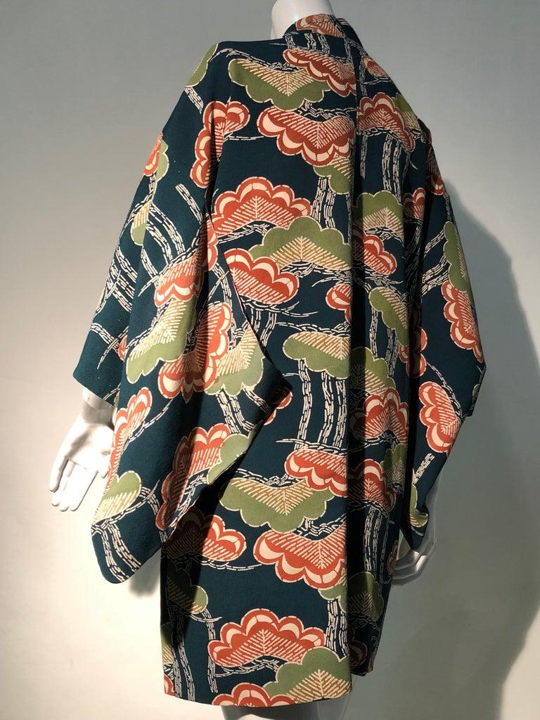 1940er Jahren traditioneller Seidenkimono in stilisierten Ginko Druck Grün Orange & Schwarz 5