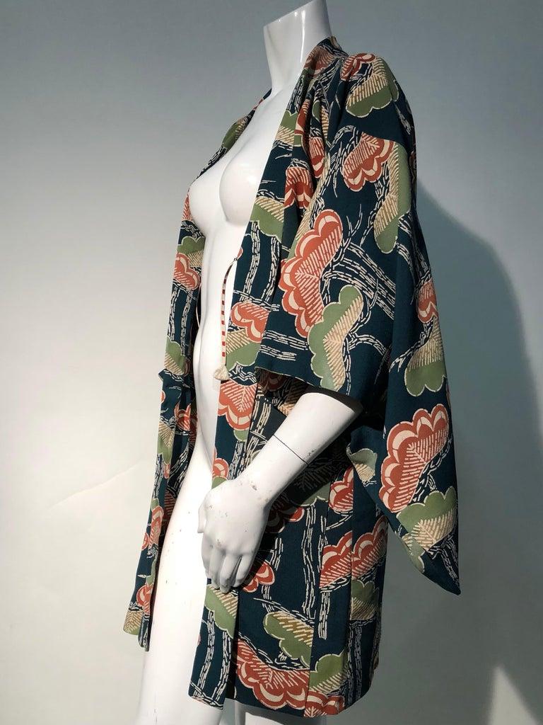 1940er Jahren traditioneller Seidenkimono in stilisierten Ginko Druck Grün Orange & Schwarz 6