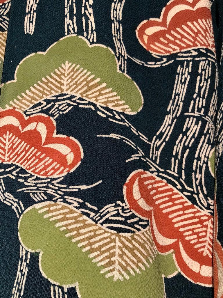 1940er Jahren traditioneller Seidenkimono in stilisierten Ginko Druck Grün Orange & Schwarz 7