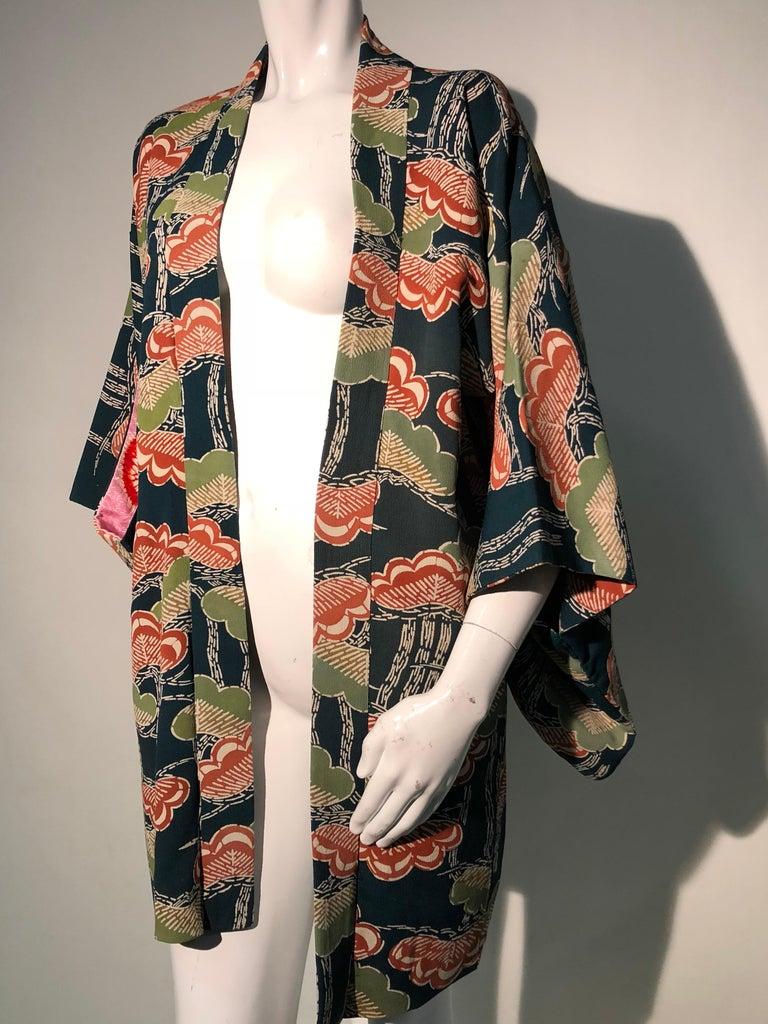 1940er Jahren traditioneller Seidenkimono in stilisierten Ginko Druck Grün Orange & Schwarz 9