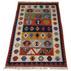 1940s Turkish Anatolian Wool Kilim Flat-Weave Rug Vivid Hues