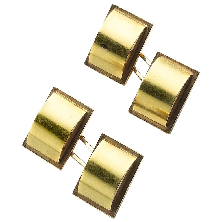 1940s Two Color Gold Cufflinks For Sale