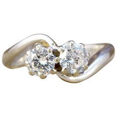 1940s Two-Stone Diamond Twist Ring in 18 Carat White Gold