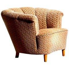 1940s, Velvet Jacquard Club Lounge Cocktail Chair from Sweden 1