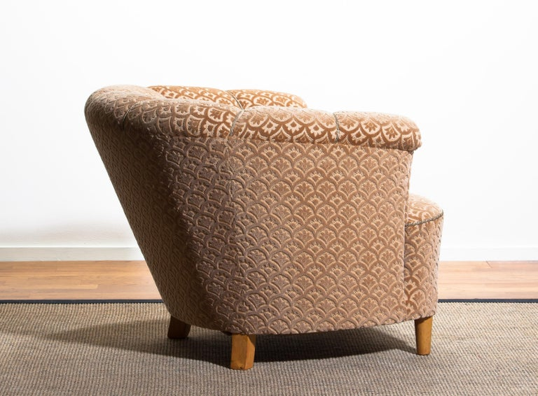 1940s, Velvet Jacquard Club Lounge Cocktail Chair from Sweden 3