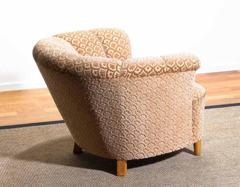 1940s, Velvet Jacquard Club Lounge Cocktail Chair from Sweden 5