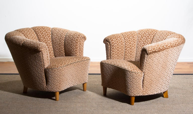 1940s, Velvet Jacquard Club Lounge Cocktail Chair from Sweden 7