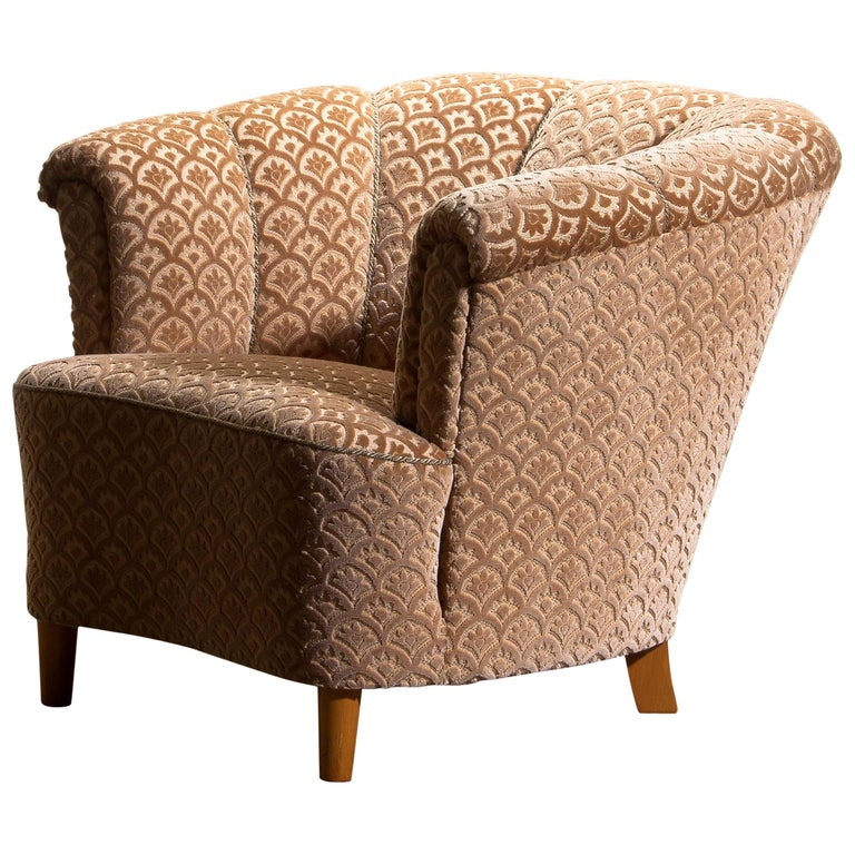 Mid-Century Modern 1940s, Velvet Jacquard Club Lounge Cocktail Chair from Sweden