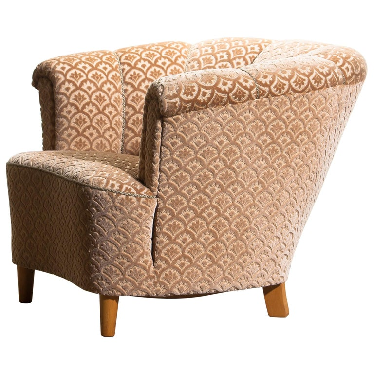 Swedish 1940s, Velvet Jacquard Club Lounge Cocktail Chair from Sweden
