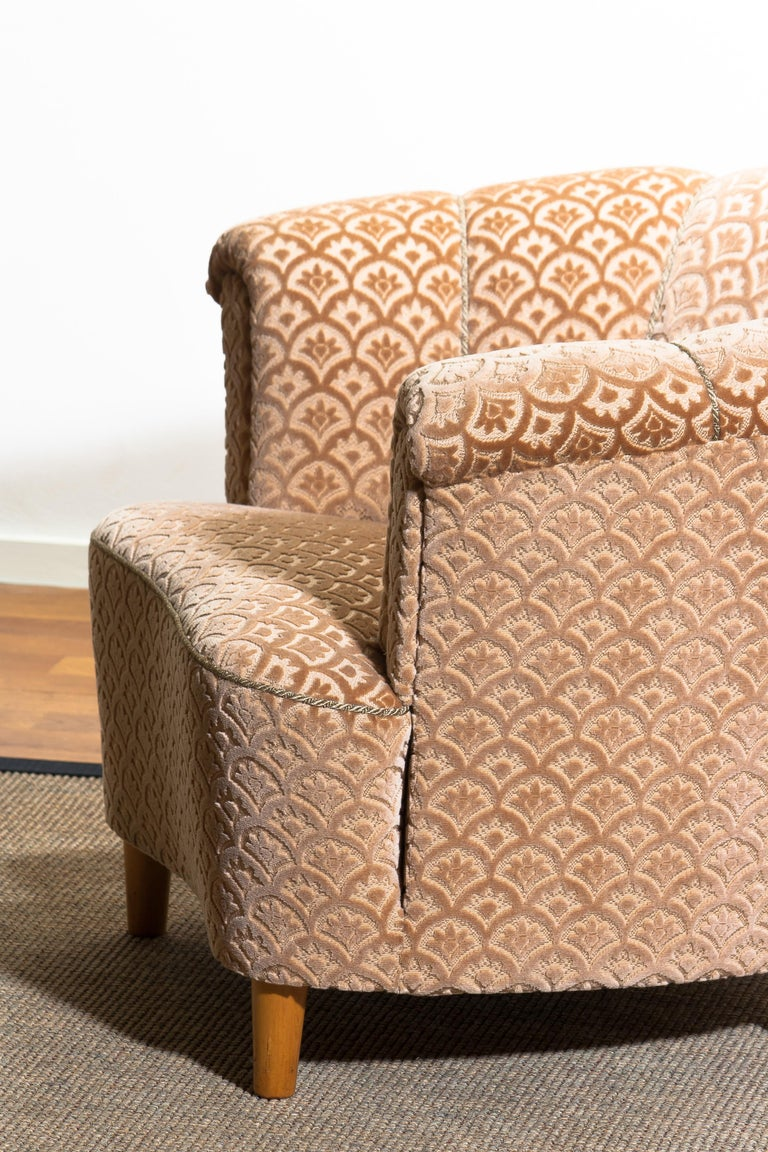 Beech 1940s, Velvet Jacquard Club Lounge Cocktail Chair from Sweden
