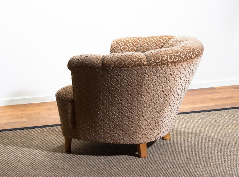 1940s, Velvet Jacquard Club Lounge Cocktail Chair from Sweden 2