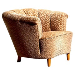 1940s, Velvet Jacquard Club Lounge Cocktail Chair from Sweden